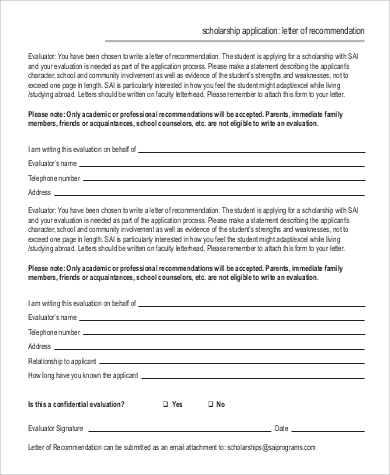 scholarship application for letter of recommendation