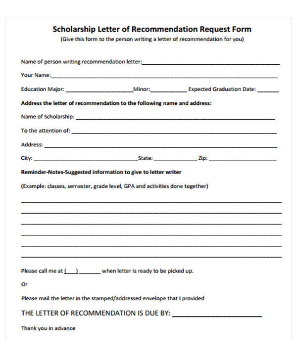 scholarship recommendation request letter