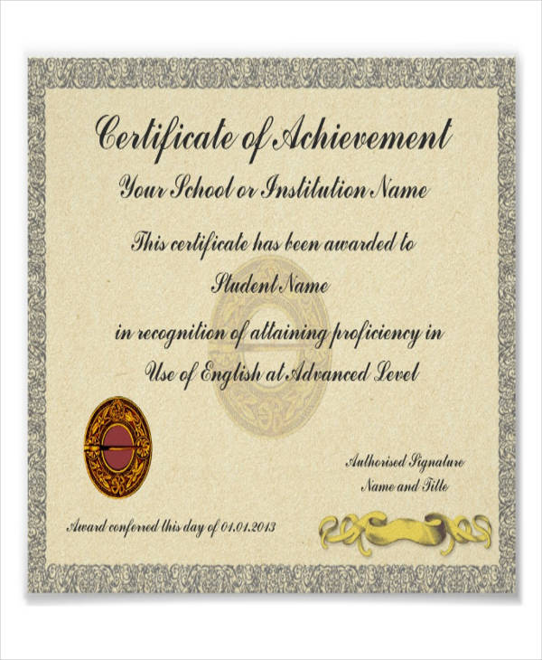 school achievement certificate sample