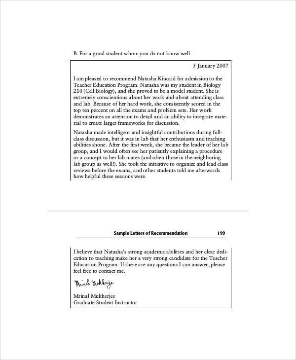 school admission recommendation letter