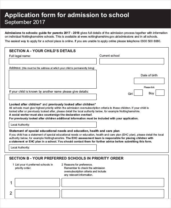 school admissions application form1