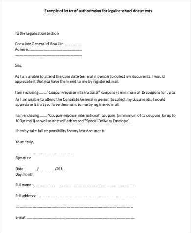 school document authorization letter
