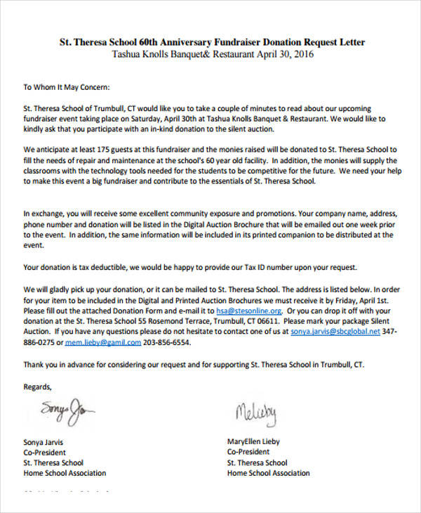 donation request letter for school event