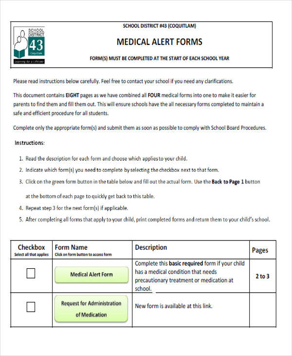 school medical alert form