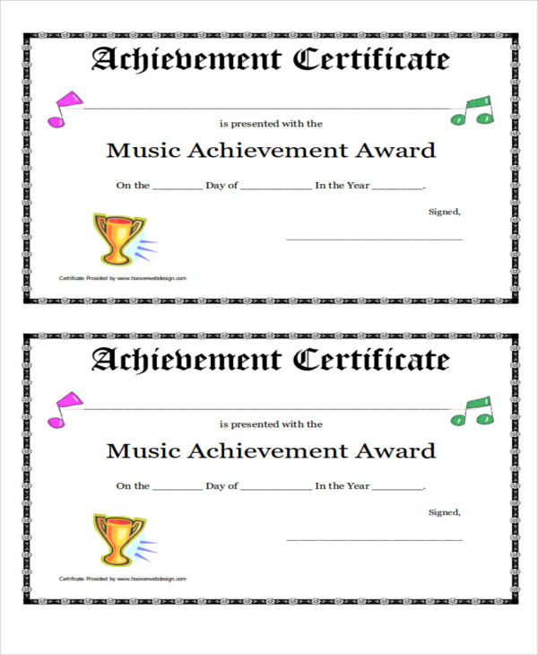 school music award certificate