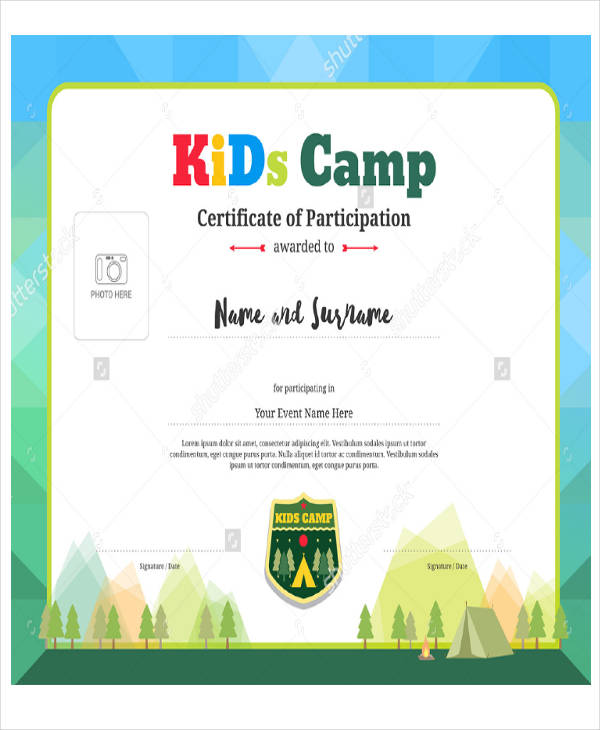 school participation certificate sample