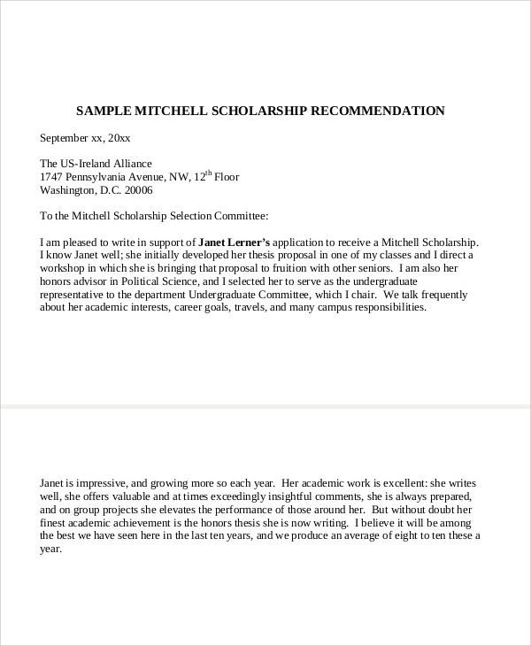 School Recommendation Letter Sample   Examples In Word Pdf