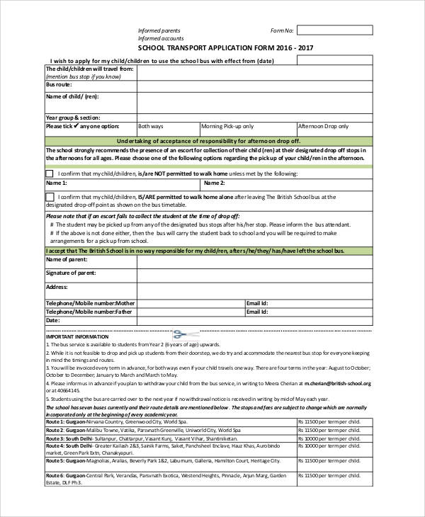 school transport application form