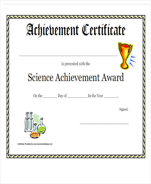 science achievement award certificate1
