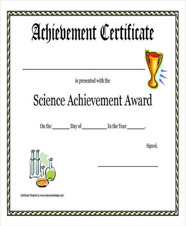 science achievement award certificate2