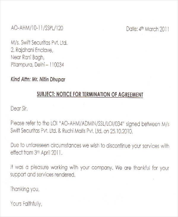 30 termination letter formats sample templates security agency termination letter spiritdancerdesigns Image collections