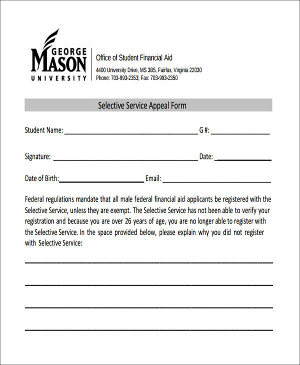 selective service appeal form