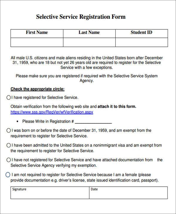 selective service registration form