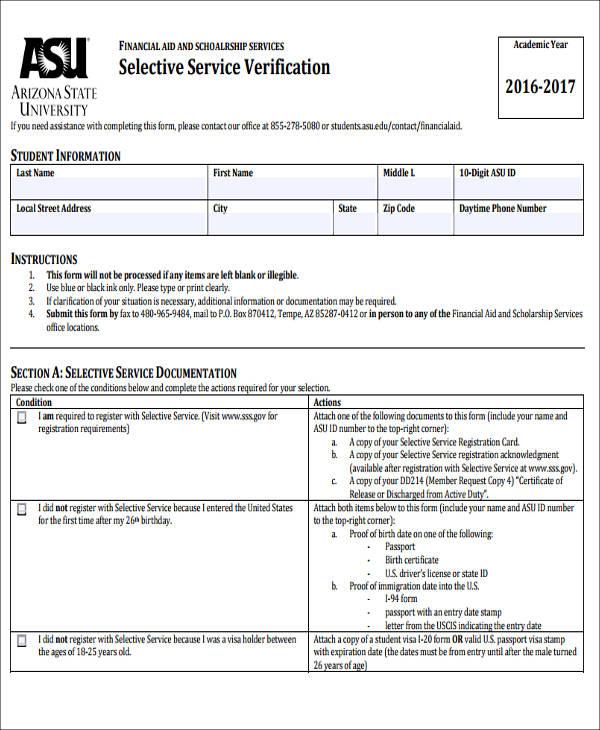 selective service verification form