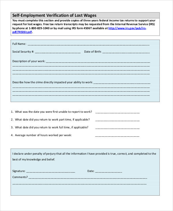 self employment wage verification form