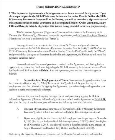 separation agreement form