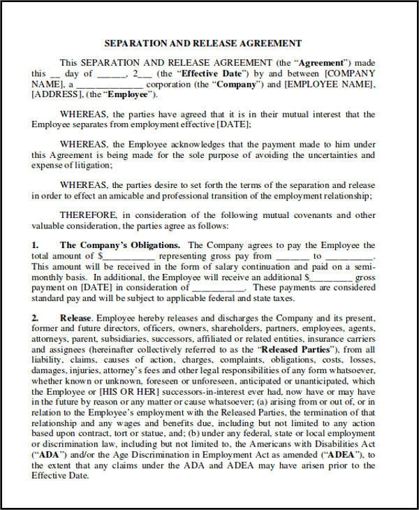 separation and release agreement sample