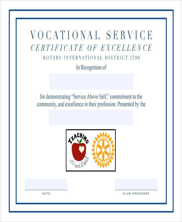 Service Award Certificate Example  Example Of Award Certificate