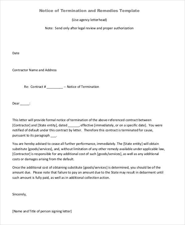 independent contractor termination letter