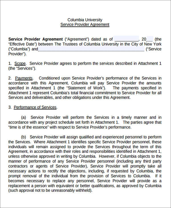 service provider agreement form