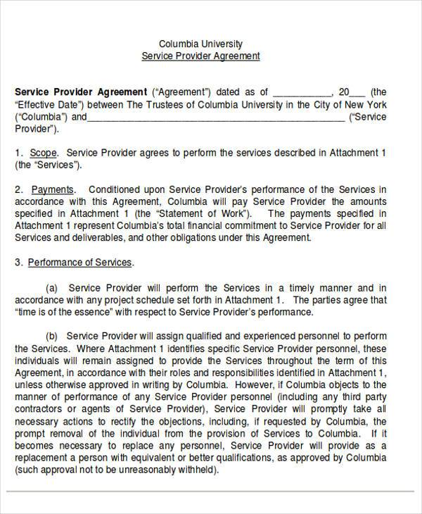70 agreement examples sample templates for Service provider agreement template