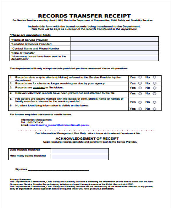 service provider receipt form