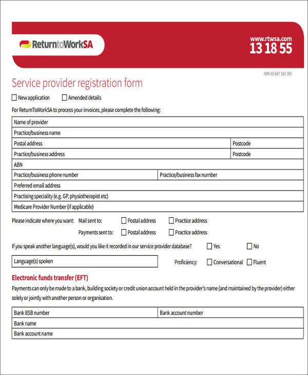 service provider registration form