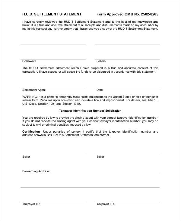 settlement statement form
