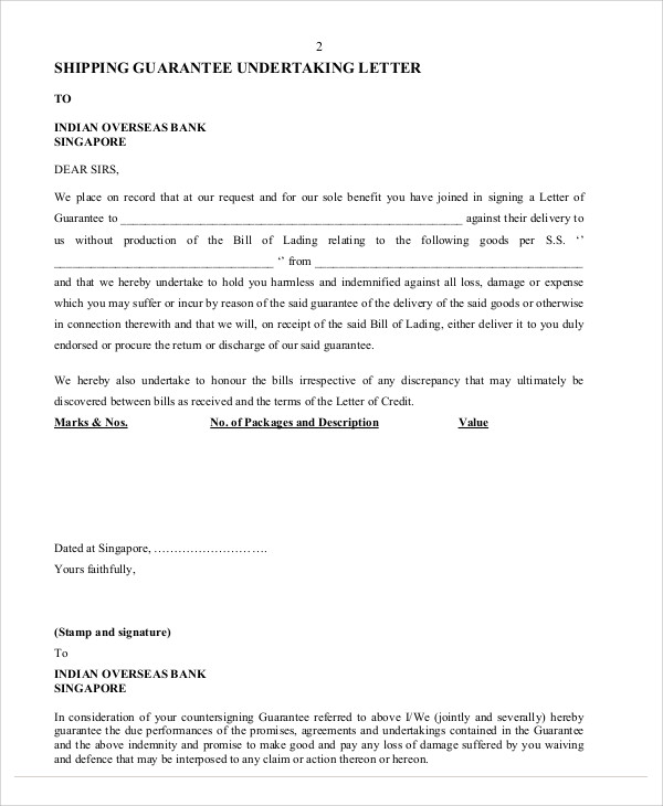 shipping guarantee undertaking letter