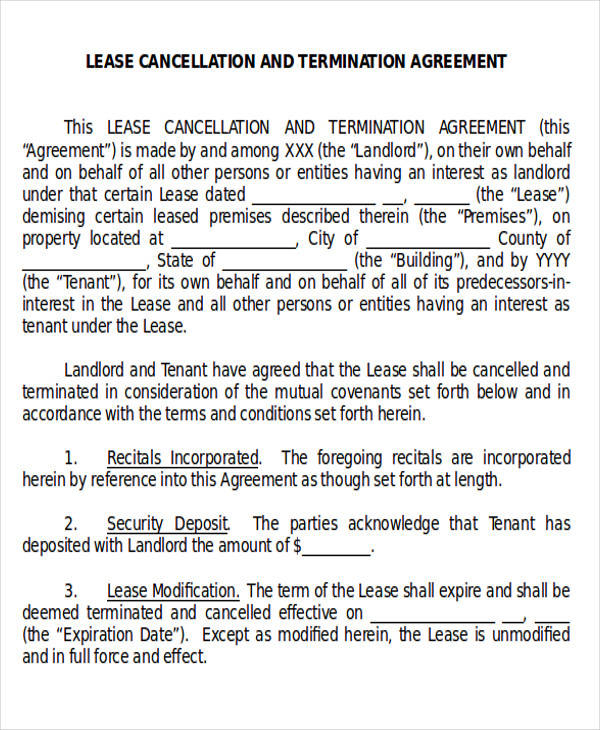 Commercial Agreement Example – Commercial Lease Termination Agreement