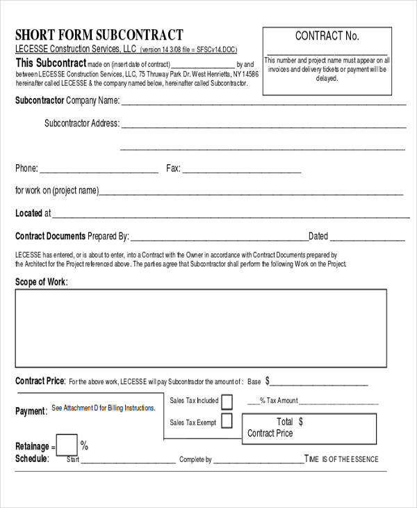 25 construction agreement forms templates sample templates for Subcontractors contract template