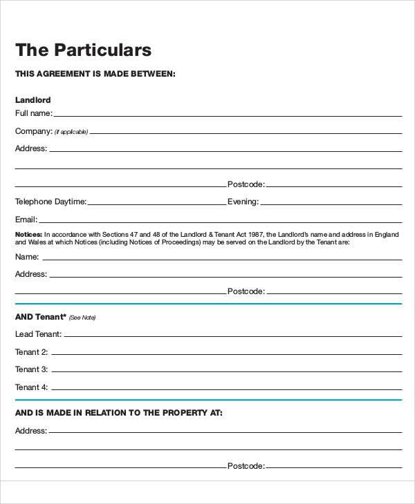 short hold tenancy agreement