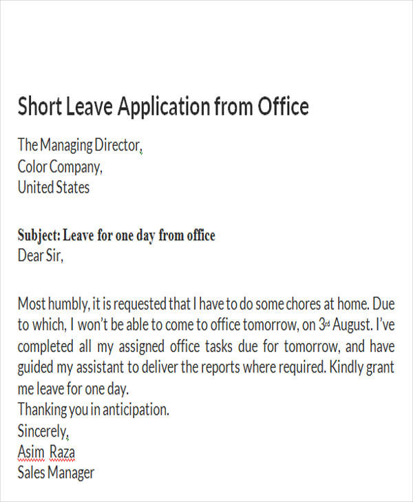 Leave letter to manager sample selol ink leave thecheapjerseys Image collections