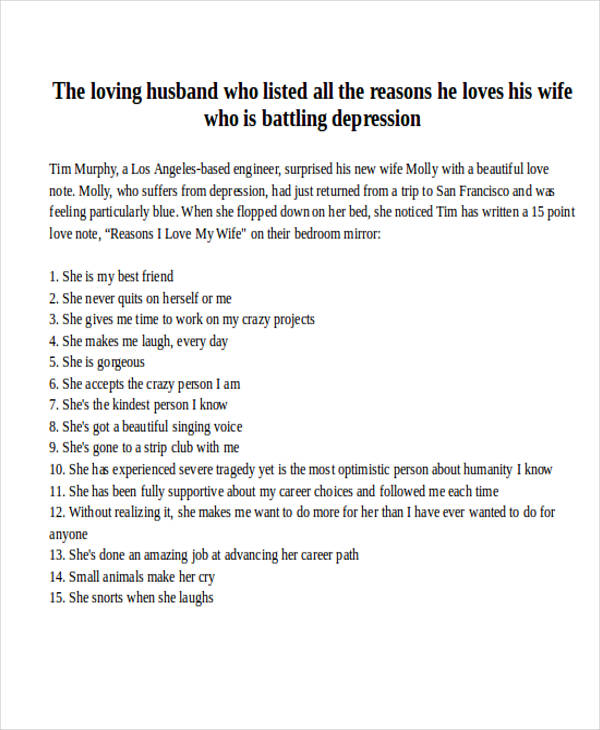 short love letter to wife