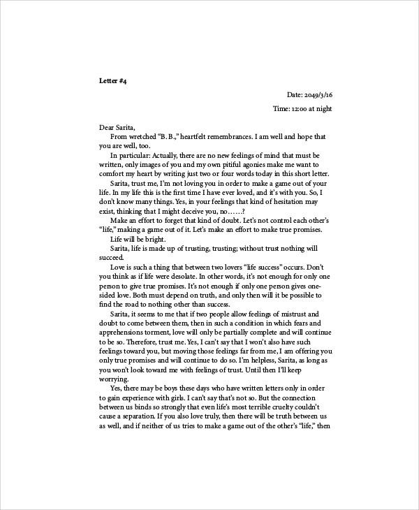 short love story letter
