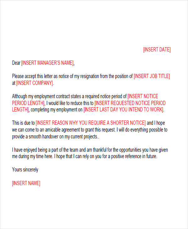 65 sample resignation letters sample templates short notice resignation expocarfo Choice Image