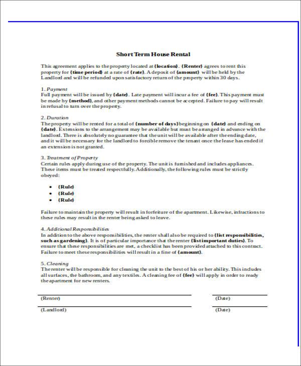 short term house rental agreement form