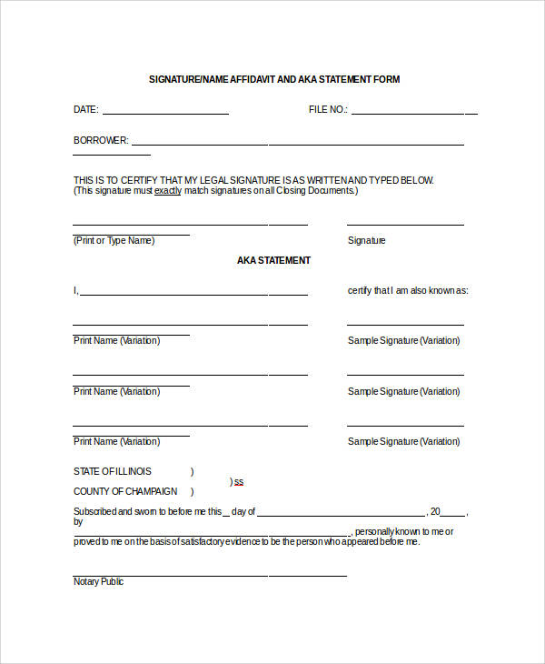 signature affidavit statement form