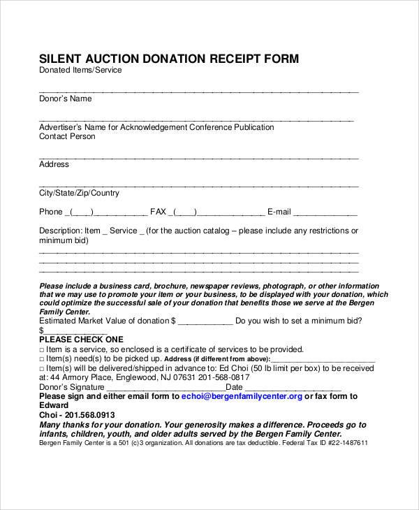 silent auction donation receipt form