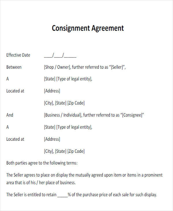 Simple Agreement Form Consignment Agreement Forms Agreement Form