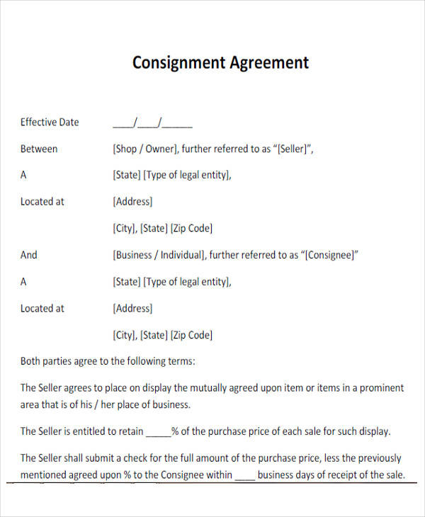 simple consignment agreement form pdf1