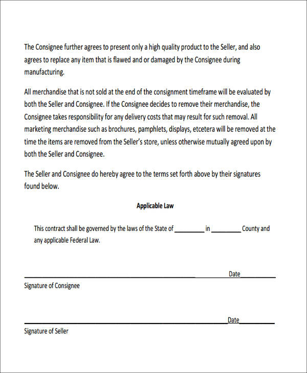 simple consignment agreement form pdf2