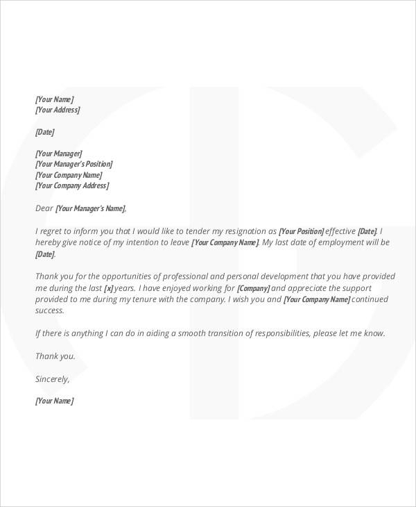 simple job resignation letter