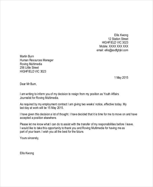 Simple Resignation Letters - 5+ Examples In Pdf, Word