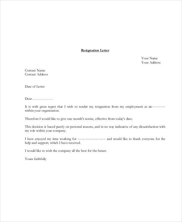 Simple Resignation Letters   Examples In Pdf Word