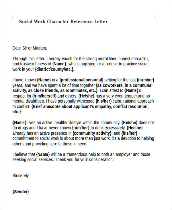 social work character reference letter