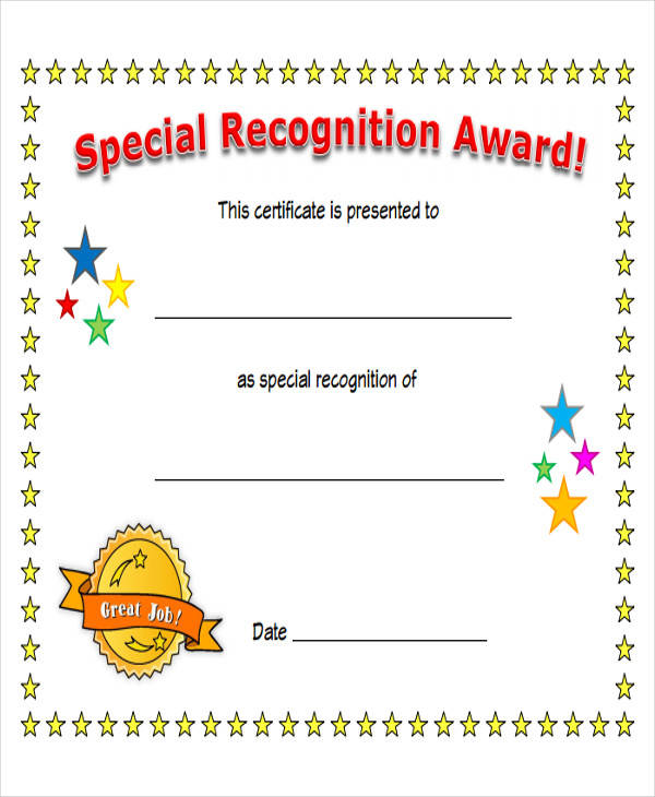 special recognition award certificate
