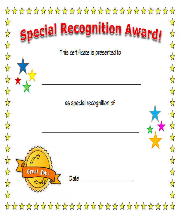special recognition award certificate2