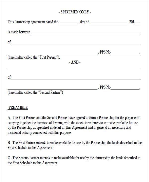 specimen partnership agreement form