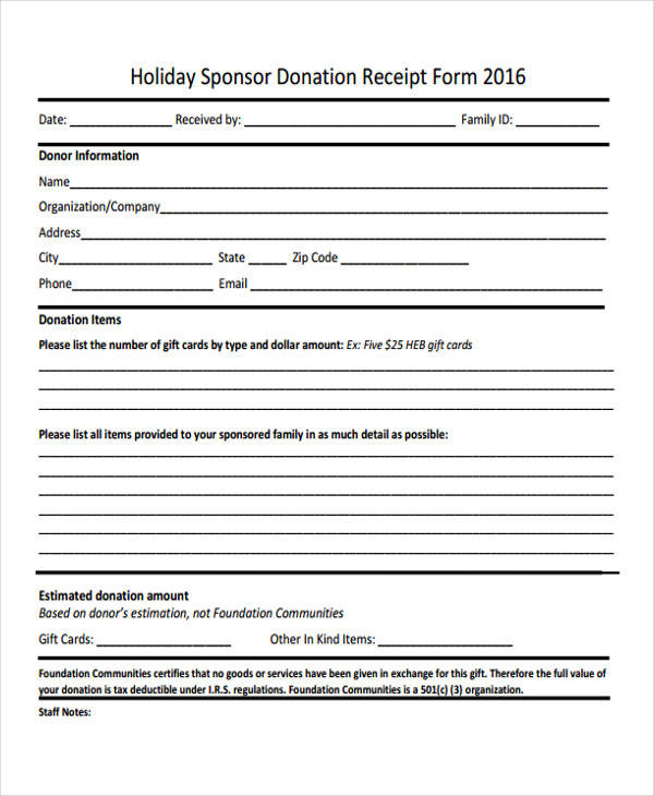 sponsor donation receipt form